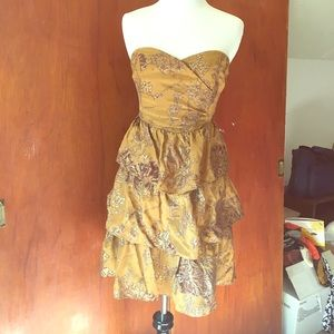 ANTHROPOLOGIE MOULINETTE SOEURS Gold Dress 4